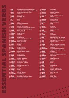 A little Cheat Sheet I made on the 100 most common spanish verbs : learnspanish Most Common Spanish Words, Useful Spanish Phrases, Basic Spanish Words, Spanish Sentences, Learn Spanish Free, Learn To Speak Spanish, Spanish Vocabulary, Spanish Language Learning, Spanish Grammar