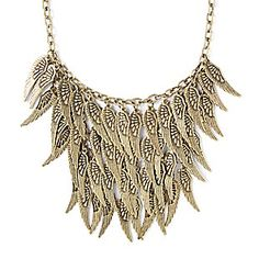 Antique Gold Angel Wings Statement Necklace