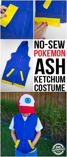 No-Sew Pokemon Ash Ketchum Costume Play Pokemon Go with this no-sew Pokemon Ash Ketchum Costume with a simple blue hoodie vest and some yellow duct tape. Easy and fun idea for a Halloween costume for boys or any Pokemon fan! Pokemon Ash Ketchum, Ash Ketchum Kostüm, Fete Halloween, Boy Costumes, Family Halloween, Holidays Halloween, Halloween Costumes For Kids, Costume Ideas, Pokemon Halloween Costumes