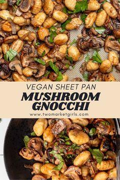 Vegetarian Mushroom Recipes, Vegan Mushroom Pasta, Vegetable Recipes, Vegan Recipes, Gnocchi Mushroom, Vegan Pasta, Vegan Gnocchi Recipe, Gluten Free Gnocchi, Gnocchi Recipes