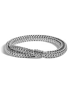 "From the John Hardy Classic Chain Men's Collection. Sterling silver woven double-chain bracelet; 6.5mm (0.3""W). Pusher clasp. Approx. 7.5"" inner circumference. Imported."" I like this a lot. A bracelet you must try on, but it appears flattering on just about any guys wrist. Simple yet sexy. I like!-Nadia (CocoNMore)"