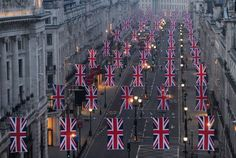 The Union Flags are hung along Regent Street in London in celebration of the forthcoming royal wedding between Prince William and Kate Middleton. Santa Lucia, Jamaica, Regent Street, Oxford Street, Dear World, Union Flags, Isabel Ii, Bahamas, Save The Queen