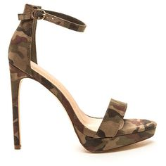 GREEN Socialite Life Strappy Camo Heels ($32) ❤ liked on Polyvore featuring shoes, sandals, green, high heel stilettos, strappy high heel sandals, wrap sandals, strappy platform sandals and high heel platform sandals