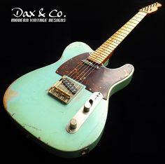Love this color combo! Dax&Co. relic'd Telecaster style guitar in Daphne Blue aged to Surf Green