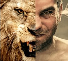 a collage of a head combining half of a roaring lion and half of an angry man.