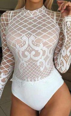 Delia White Lace Top Bodysuit