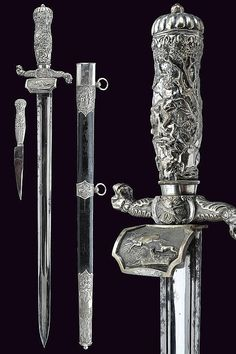 A silver mounted hunting hanger, Germany, 19th century.