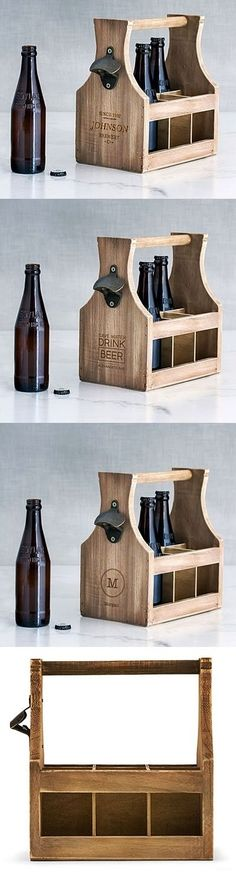 Personalizable Wood Bottle Caddy with Bottle Opener (3 Designs)