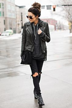 fall / winter - street style - street chic style - winter outfits - casual outfits - black leather jacket + grey hoodie + black aviator sunglasses + black skinny jeans + black buckle booties + black shoulder bag