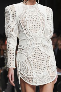 ETC INSPIRATION BLOG DESIGN ART FOOD RECIPES FABRIC INTRICATE BALMAIN 2013 WHITE SHOULDER LONG SLEEVE DRESS