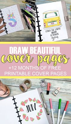 A Full Year's Worth of Free Printable Cover Pages to add to your bullet journal