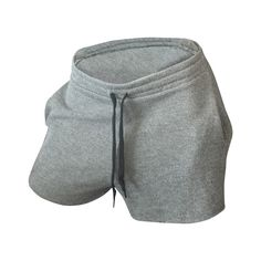Sara Shorts in Grey ($30) ❤ liked on Polyvore featuring shorts, grey shorts, gray shorts, draw string shorts, french terry shorts and drawstring shorts