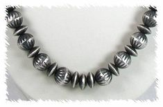 Antiqued Sterling Silver Beads by Virginia Tso, Navajo Navajo Jewelry, Native American Beading, Silver Beads, Pearls, Virginia, Sterling Silver, Antiques, Bench, Culture