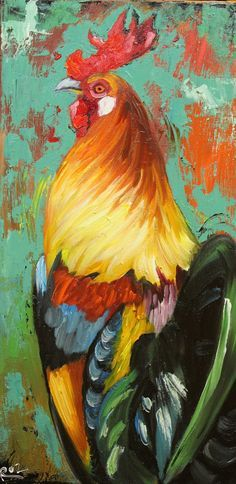 Rooster 882 12x24 inch original animal portrait oil by RozArt, $170.00