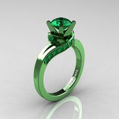 Classic Military 14K Green Gold 1.0 Ct Emerald by DesignMasters, $1779.00