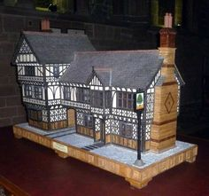 Model Tudor Dolls House. Approx 4000 cobbles all made from oak. pic 1/2
