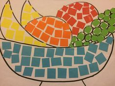 Paper Mosaic Art for Stage 1. So simple and adaptable for a huge range of topics. If you are going to get the kids to draw the picture make sure you do it with them with simple step by step instructions.
