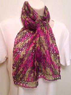Lace Crochet Scarf - Jewel Tones by SueAnnesKnitShoppe on Etsy