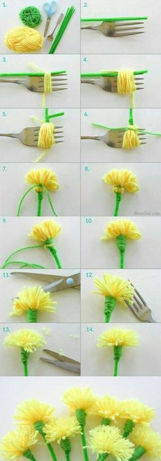 Easy Tassel Flowers: DIY Dandelion Bouquet This tutorial for easy tassel flowers teaches you how to make dandelions out of yarn and pipe cleaners. It's the perfect craft for Mother's Day, a Girl Scouts meeting or a birthday party! Diy Mother's Day Crafts, Mothers Day Crafts, Spring Crafts, Yarn Crafts, Decor Crafts, Yarn Flowers, Origami Flowers, Diy Flowers, Diy Projects For Kids