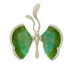 AARON FABER - Carved Tourmaline Butterfly Brooch