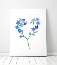 Flower Watercolor Painting Forget me not flower by Zendrawing