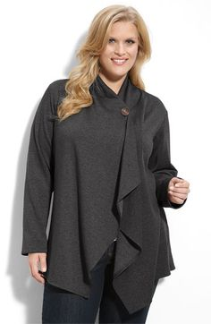 Bobeau One Button Fleece Cardigan (Plus) | Nordstrom
