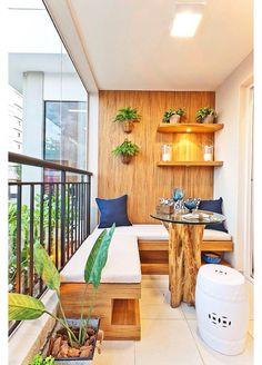 Wooden balcony furniture – Small balcony – Balcony ideas – Balcony design - All About Gardens Small Balcony Design, Small Balcony Garden, Balcony Ideas, Small Balconies, Narrow Balcony, Patio Ideas, Small Patio, Terrace Design, Modern Balcony
