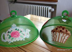 Pretty cross stitch embroidery onto mesh food covers.