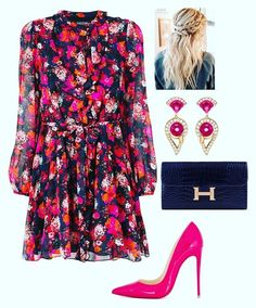 A fashion look from February 2018 featuring Saloni dresses, Christian Louboutin pumps and Hermès wallets. Browse and shop related looks. Classy Outfits, Chic Outfits, Fashion Outfits, Womens Fashion, Cute Dresses, Casual Dresses, Short Dresses, Looks Chic, Looks Style