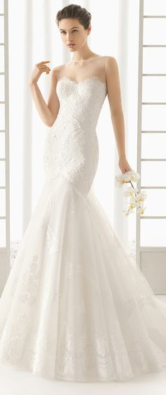mermaid lace wedding dresses with illusion neckline rosa clara don
