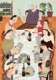 """illustration for """"einayim"""" magazin Art And Illustration, Illustration Mignonne, People Illustration, Illustrations And Posters, Poster S, Jewish Art, You Draw, Naive Art, Painting & Drawing"""