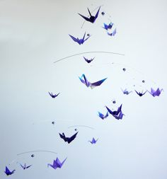 Purples withBeads - Large Hanging Origami Mobiles -