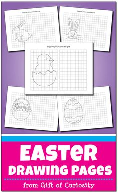 Easter Drawing Pages - Gift of Curiosity Easter Activities For Kids, Kids Learning Activities, Art Activities, Activity Ideas, Drawing For Kids, Art For Kids, Easter Drawings, Kids Pages, Steam Activities