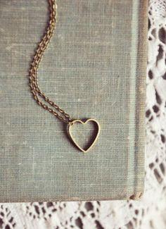 hollow brass heart necklace.