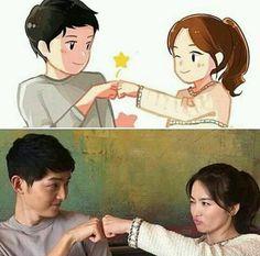 Descendants of the Sun. Songsong Couple, Cute Couple Art, W Kdrama, Best Kdrama, Desendents Of The Sun, Descendants Of The Sun Wallpaper, Song Joon Ki, Drama Funny, Fanart