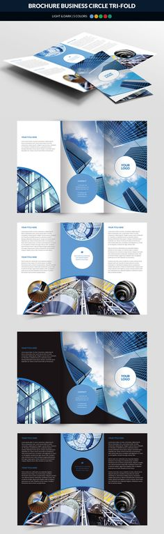 Business Circle Tri Fold Brochure Template PSD