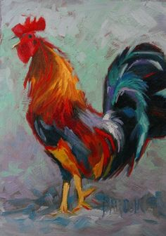 Something to Crow About - colorful rooster crowing oil painting, painting by artist Debbie Grayson Lincoln