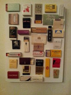 Matchbook Art: Take a glue gun to those matchbooks you've been collecting over the years and display them on a blank canvas.
