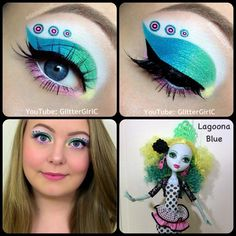 Ideas monsters high makeup for women and girls. Also some designs for men. Great designs to look resplendent in costume events. Crazy Makeup, Pretty Makeup, Maquillaje Monster High, Doll Makeup, Eye Makeup, Monster High Makeup, Makeup Collage, Eyeshadow Designs, Monster High Birthday