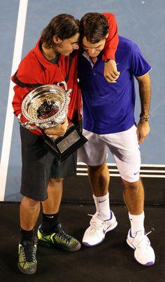 Roger  Federer and Rafael Nadal - roger-federer-and-rafael-nadal Photo dos leyendas del #Tenis.