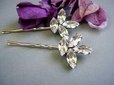 Bridal,wedding hair pins, Swarovski Rhinestone, Bobby pins, set of 2, vintage style,hair,Accessories,. $21.00, via Etsy.