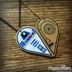 From her workshop in Medicine Hat, Alberta, Amy, AKA Rapscallion Design makes wonderful, creepy, whimsical zombie and Star Wars jewelry and suchlike from polymer clay and laser-cut acrylic, like the R2D2 and C3PO Best Friends Necklace Set.: