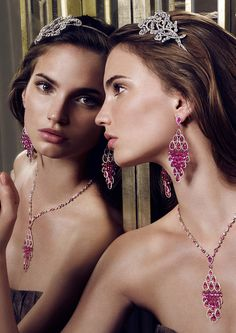 Graff Diamonds' floral motif Alice band, worn with briolette, pear shape and round sapphire earrings and necklace.