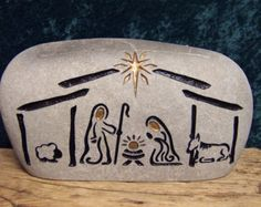 Hand Engraved Nativity Stone for Christmas decor and gifts Diy Christmas Presents, Christmas Rock, Christmas Nativity Scene, Pebble Painting, Pebble Art, Stone Painting, Painted Pavers, Painted Rocks Craft, Nativity Crafts