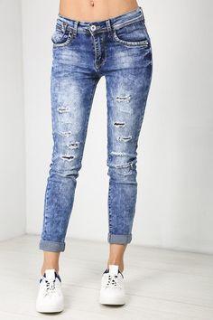 4165567f7d815 Annie Acid Wash Slim Leg Ripped Jeans