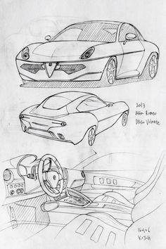 Car drawing 160106.  2013 Alfa Romeo  Disco Volante. Prisma on paper.  Kim.J.H