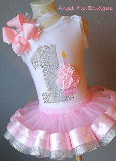 Baby Girl's First Birthday Outfit - No. 1 Applique w/ cupcake. Ribbon Trim Tutu and Hair Bow on Band - Light Pink & Silver