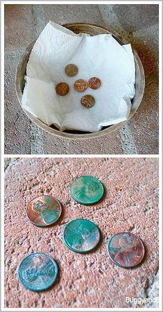 Chemical reactions with coins // reacciones químicas con monedas