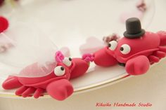 WOBSTUHS!    Casual Collection -----LOVE ANGELS lobster Wedding Cake Topper. $80.00, via Etsy.