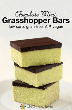 These Grasshopper Bars are great in so many ways – they're chocolate & mint, just like thin mint or grasshopper cookies – the perfect flavor combo! They're also low carb, grain-free, AIP compliant, and vegan – so many real food attributes & healthy ingredients that they're really good for you! Recipe by @wholenewmom